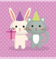cute cat and rabbit sweet kawaii character vector image