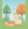 cute goat animal farm in birthday party scene vector image vector image