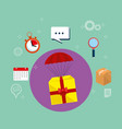 gitf in parachute with delivery service icons vector image vector image