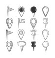 hand drawn doodle navigation pins set vector image