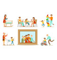 happy family portrait grandparents parents and vector image vector image