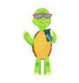 happy young cartoon turtle stands drinks a vector image vector image