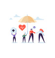health insurance concept with characters umbrella vector image vector image