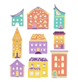 Houses Set Doodle Color Light vector image