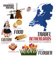 infographic elements for traveling to netherland vector image