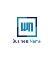 initial letter wn logo template design vector image