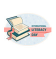 international literacy day card book and ribbon vector image