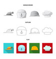 isolated object of headwear and cap logo set of vector image vector image