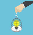 isometric businessman hand holding birdcage with vector image vector image