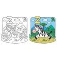 Little Zebra coloring book Alphabet Z vector image