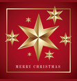 merry christmas card golden big star with red vector image