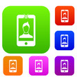 mobile phone with photo set collection vector image vector image
