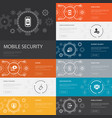 mobile security infographic 10 line icons banners vector image vector image