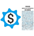 Money Seal Icon with 1000 Medical Business Icons vector image vector image