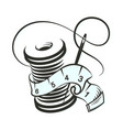 needle and thread reel for sewing vector image vector image