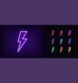Neon lightning bolt icon glowing neon thunder