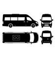 passenger minivan black icons vector image
