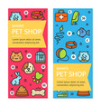 pet shop flyer banner placard set vector image vector image