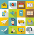 poste service icons set flat style vector image vector image