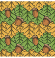 Seamless pattern with leaves and acorns vector image vector image