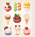set colorful ice creams vector image vector image