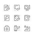 set line icons data recovery vector image
