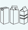 Set of boxes for milk and juice vector image