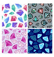set of seamless diamonds patterns jewelry vector image vector image