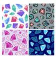 set seamless diamonds patterns jewelry vector image