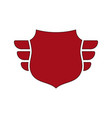 shield red icon outline shield simple wings vector image vector image