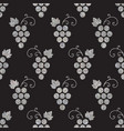 silver textured seamless pattern of grapes vector image
