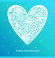 space theme concept banner in line style with vector image
