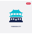 two color forbidden city icon from asian concept vector image vector image