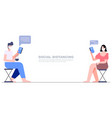 two people sitting separate keep distance chat vector image vector image