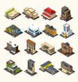 urban buildings isometric collection vector image vector image