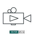 video camera icon line style isolated on white vector image vector image