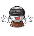 virtual reality ball snow and christmas cartoon vector image vector image