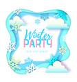 winter party typography poster with snowflakes vector image