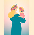 young mother holds her baby in her arms vector image