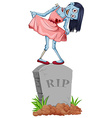 Zombie standing on gravestone vector image vector image