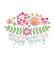 spring typographic flower badge design vector image