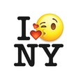 I love New York font with emoji kiss face vector image