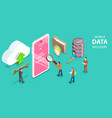3d isometric flat concept mobile data vector image