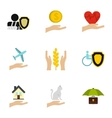 Assurance icons set flat style vector image vector image