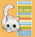 baby shower card template with funny doodle kitten vector image vector image