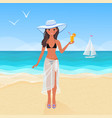 beautiful girl on the seashore vector image