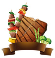 Beef and banner vector image vector image