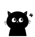 black cat head face silhouette looking at vector image
