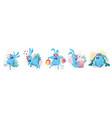 blue rabbit sticker set vector image vector image