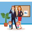 business couple with children isometric avatars vector image